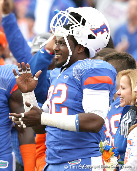 Florida senior linebacker Dustin Doe cheers during the Senior Day ceremony before the Gators' 37-10 win against Florida State on Saturday, November 28, 2009 at Ben Hill Griffin Stadium in Gainesville, Fla. / Gator Country photo by Tim Casey