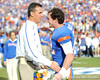 Florida head coach Urban Meyer greets redshirt senior wide receiver Cade Holliday during the Senior Day ceremony before the Gators' 37-10 win against Florida State on Saturday, November 28, 2009 at Ben Hill Griffin Stadium in Gainesville, Fla. / Pool photo by Phil Sandlin