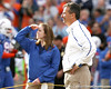 Florida senior quarterback Tim Tebow watches as Tim Tebow is announced during the Senior Day ceremony before the Gators' 37-10 win against Florida State on Saturday, November 28, 2009 at Ben Hill Griffin Stadium in Gainesville, Fla. / Gator Country photo by Tim Casey