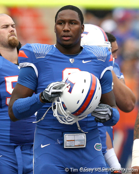 Florida junior defensive end Carlos Dunlap warms up before the Gators' 37-10 win against Florida State on Saturday, November 28, 2009 at Ben Hill Griffin Stadium in Gainesville, Fla. / Gator Country photo by Tim Casey