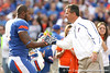 Florida redshirt senior linebacker Ryan Stamper hugs head coach Urban Meyer during the Senior Day ceremony before the Gators' 37-10 win against Florida State on Saturday, November 28, 2009 at Ben Hill Griffin Stadium in Gainesville, Fla. / Gator Country photo by Tim Casey