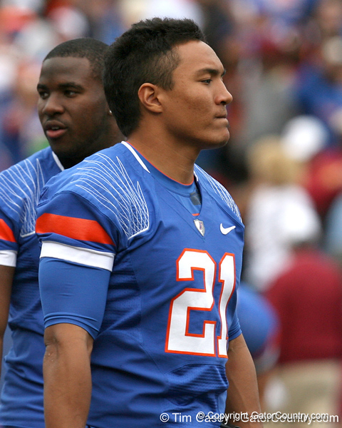 Florida redshirt junior running back Emmanuel Moody heads to the locker room before the Gators' 37-10 win against Florida State on Saturday, November 28, 2009 at Ben Hill Griffin Stadium in Gainesville, Fla. / Gator Country photo by Tim Casey
