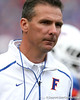 Florida head coach Urban Meyer oversees warmups before the Gators' 37-10 win against Florida State on Saturday, November 28, 2009 at Ben Hill Griffin Stadium in Gainesville, Fla. / Gator Country photo by Tim Casey