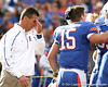 Florida head coach Urban Meyer wipes his eyes during the Senior Day ceremony before the Gators' 37-10 win against Florida State on Saturday, November 28, 2009 at Ben Hill Griffin Stadium in Gainesville, Fla. / Gator Country photo by Tim Casey