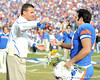 Florida head coach Urban Meyer greets redshirt senior kicker Jonathan Phillips during the Senior Day ceremony before the Gators' 37-10 win against Florida State on Saturday, November 28, 2009 at Ben Hill Griffin Stadium in Gainesville, Fla. / Pool photo by Phil Sandlin