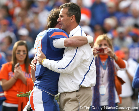 Florida redshirt senior wide receiver Cade Holliday hugs head coach Urban Meyer during the Senior Day ceremony before the Gators' 37-10 win against Florida State on Saturday, November 28, 2009 at Ben Hill Griffin Stadium in Gainesville, Fla. / Gator Country photo by Tim Casey