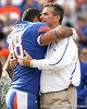Florida senior fullback Rick Burgess hugs head coach Urban Meyer during the Senior Day ceremony before the Gators' 37-10 win against Florida State on Saturday, November 28, 2009 at Ben Hill Griffin Stadium in Gainesville, Fla. / Gator Country photo by Tim Casey