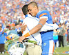 Florida head coach Urban Meyer greets redshirt senior wide receiver David Nelson during the Senior Day ceremony before the Gators' 37-10 win against Florida State on Saturday, November 28, 2009 at Ben Hill Griffin Stadium in Gainesville, Fla. / Pool photo by Phil Sandlin