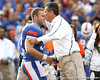 Florida redshirt senior long snapper Mike Williamson embraces head coach Urban Meyer during the Senior Day ceremony before the Gators' 37-10 win against Florida State on Saturday, November 28, 2009 at Ben Hill Griffin Stadium in Gainesville, Fla. / Gator Country photo by Tim Casey