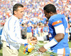 Florida head coach Urban Meyer greets senior linebacker Dustin Doe during the Senior Day ceremony before the Gators' 37-10 win against Florida State on Saturday, November 28, 2009 at Ben Hill Griffin Stadium in Gainesville, Fla. / Pool photo by Phil Sandlin