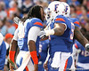 Florida senior linebacker Brandon Spikes is greeted by Mike Pouncey and Maurkice Pouncey during the Senior Day ceremony before the Gators' 37-10 win against Florida State on Saturday, November 28, 2009 at Ben Hill Griffin Stadium in Gainesville, Fla. / Gator Country photo by Tim Casey