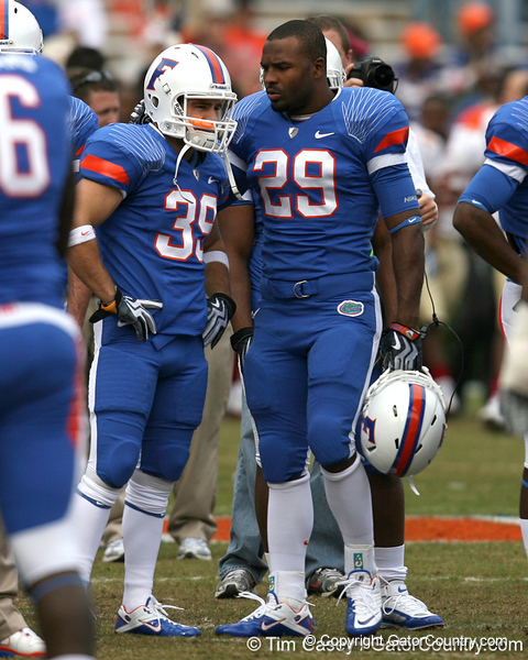 Florida redshirt senior defensive back Joey Sorrentino talks to redshirt junior running back Christopher Scott before the Gators' 37-10 win against Florida State on Saturday, November 28, 2009 at Ben Hill Griffin Stadium in Gainesville, Fla. / Gator Country photo by Tim Casey