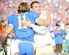 Florida head coach Urban Meyer hugs senior wide receiver Riley Cooper during the Senior Day ceremony before the Gators' 37-10 win against Florida State on Saturday, November 28, 2009 at Ben Hill Griffin Stadium in Gainesville, Fla. / Pool photo by Phil Sandlin