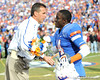Florida head coach Urban Meyer greets senior cornerback Markihe Anderson during the Senior Day ceremony before the Gators' 37-10 win against Florida State on Saturday, November 28, 2009 at Ben Hill Griffin Stadium in Gainesville, Fla. / Pool photo by Phil Sandlin