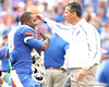 Florida redshirt junior running back Christopher Scott embraces head coach Urban Meyer during the Senior Day ceremony before the Gators' 37-10 win against Florida State on Saturday, November 28, 2009 at Ben Hill Griffin Stadium in Gainesville, Fla. / Gator Country photo by Tim Casey