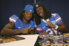 Florida junior cornerback Janoris Jenkins and senior cornerback Moses Jenkins pose for a photo during the Gators' annual Fan Day on Sunday, August 15, 2010 at the Stephen C. O'Connell Center in Gainesville, Fla. / Gator Country photo by Tim Casey