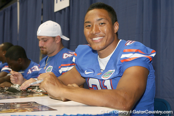 Florida redshirt senior running back Emmanuel Moody poses for a photo during the Gators' annual Fan Day on Sunday, August 15, 2010 at the Stephen C. O'Connell Center in Gainesville, Fla. / Gator Country photo by Tim Casey