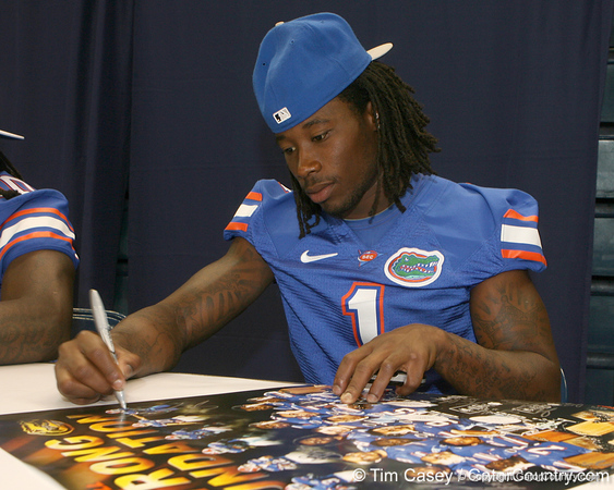 Florida junior cornerback Janoris Jenkins signs an autograph during the Gators' annual Fan Day on Sunday, August 15, 2010 at the Stephen C. O'Connell Center in Gainesville, Fla. / Gator Country photo by Tim Casey