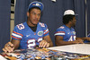 Florida freshman linebacker Chris Martin signs an autograph during the Gators' annual Fan Day on Sunday, August 15, 2010 at the Stephen C. O'Connell Center in Gainesville, Fla. / Gator Country photo by Tim Casey