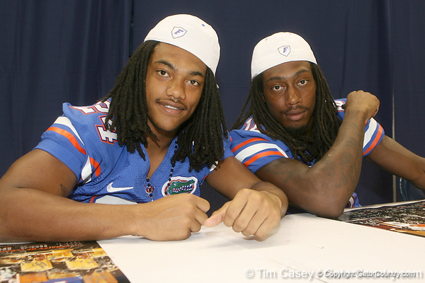 Florida sophomore free safety Josh Evans and junior safety Will Hill pose for a photo during the Gators' annual Fan Day on Sunday, August 15, 2010 at the Stephen C. O'Connell Center in Gainesville, Fla. / Gator Country photo by Tim Casey