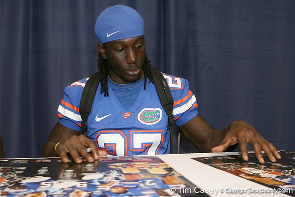 Florida freshman wide receiver Chris Dunkley signs an autograph during the Gators' annual Fan Day on Sunday, August 15, 2010 at the Stephen C. O'Connell Center in Gainesville, Fla. / Gator Country photo by Tim Casey