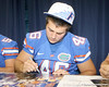 Florida freshman long snapper Drew Ferris signs an autograph during the Gators' annual Fan Day on Sunday, August 15, 2010 at the Stephen C. O'Connell Center in Gainesville, Fla. / Gator Country photo by Tim Casey