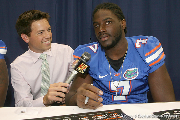 WCJB reporter Chris Price interviews Florida freshman defensive end Ronald Powell during the Gators' annual Fan Day on Sunday, August 15, 2010 at the Stephen C. O'Connell Center in Gainesville, Fla. / Gator Country photo by Tim Casey