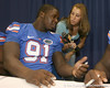 Florida redshirt sophomore defensive end Earl Okine talks to a reporter during the Gators' annual Fan Day on Sunday, August 15, 2010 at the Stephen C. O'Connell Center in Gainesville, Fla. / Gator Country photo by Tim Casey