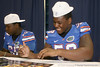 Florida freshman defensive tackle Dominique Easley signs an autograph during the Gators' annual Fan Day on Sunday, August 15, 2010 at the Stephen C. O'Connell Center in Gainesville, Fla. / Gator Country photo by Tim Casey