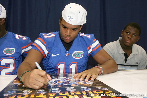 Florida redshirt freshman tight end Jordan Reed signs an autograph during the Gators' annual Fan Day on Sunday, August 15, 2010 at the Stephen C. O'Connell Center in Gainesville, Fla. / Gator Country photo by Tim Casey