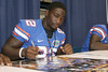 Florida redshirt sophomore wide receiver Omarius Hines signs an autograph during the Gators' annual Fan Day on Sunday, August 15, 2010 at the Stephen C. O'Connell Center in Gainesville, Fla. / Gator Country photo by Tim Casey