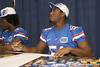 Florida freshman linebacker Michael Taylor signs an autograph during the Gators' annual Fan Day on Sunday, August 15, 2010 at the Stephen C. O'Connell Center in Gainesville, Fla. / Gator Country photo by Tim Casey