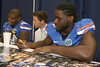 Florida freshman defensive end Ronald Powell signs an autograph during the Gators' annual Fan Day on Sunday, August 15, 2010 at the Stephen C. O'Connell Center in Gainesville, Fla. / Gator Country photo by Tim Casey