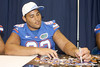 Florida redshirt senior defensive tackle Terron Sanders signs an autograph during the Gators' annual Fan Day on Sunday, August 15, 2010 at the Stephen C. O'Connell Center in Gainesville, Fla. / Gator Country photo by Tim Casey