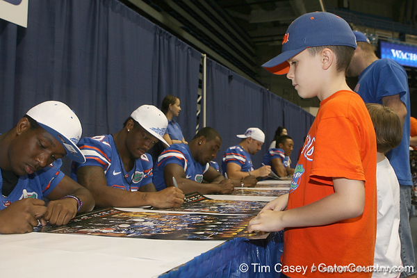 A Florida fan waits for an autograph during the Gators' annual Fan Day on Sunday, August 15, 2010 at the Stephen C. O'Connell Center in Gainesville, Fla. / Gator Country photo by Tim Casey