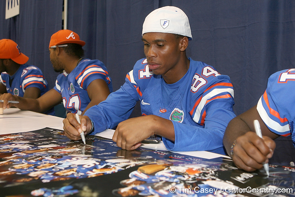 Florida freshman wide receiver Quinton Dunbar signs an autograph during the Gators' annual Fan Day on Sunday, August 15, 2010 at the Stephen C. O'Connell Center in Gainesville, Fla. / Gator Country photo by Tim Casey