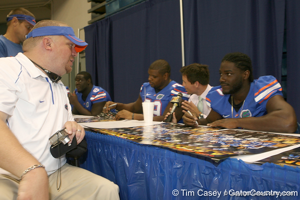Florida freshman defensive end Ronald Powell talks to a fan during the Gators' annual Fan Day on Sunday, August 15, 2010 at the Stephen C. O'Connell Center in Gainesville, Fla. / Gator Country photo by Tim Casey