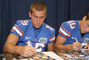 Florida junior kicker Caleb Sturgis signs an autograph during the Gators' annual Fan Day on Sunday, August 15, 2010 at the Stephen C. O'Connell Center in Gainesville, Fla. / Gator Country photo by Tim Casey