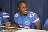 Florida sophomore linebacker Jonathan Bostic signs an autograph during the Gators' annual Fan Day on Sunday, August 15, 2010 at the Stephen C. O'Connell Center in Gainesville, Fla. / Gator Country photo by Tim Casey