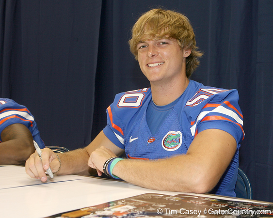 Florida redshirt sophomore long snapper Cody Hampton signs an autograph during the Gators' annual Fan Day on Sunday, August 15, 2010 at the Stephen C. O'Connell Center in Gainesville, Fla. / Gator Country photo by Tim Casey