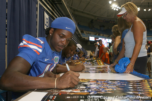 Florida freshman linebacker Neiron Ball signs an autograph during the Gators' annual Fan Day on Sunday, August 15, 2010 at the Stephen C. O'Connell Center in Gainesville, Fla. / Gator Country photo by Tim Casey