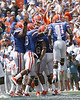 Florida redshirt senior receiver Carl Moore gets congratulated after catching a touchdown pass during the first half of the Gators' game against the South Florida Bulls on Saturday, September 11, 2010 at Ben Hill Griffin Stadium in Gainesville, Fla. / Gator Country photo by Tim Casey