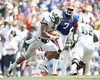 Florida freshman defensive end Ronald Powell chases B.J. Daniels during the second half of the Gators' 38-14 win against the South Florida Bulls on Saturday, September 11, 2010 at Ben Hill Griffin Stadium in Gainesville, Fla. / Gator Country photo by Tim Casey