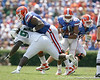 Florida redshirt senior guard Carl Johnson blocks for redshirt senior running back Emmanuel Moody during the first half of the Gators' game against the South Florida Bulls on Saturday, September 11, 2010 at Ben Hill Griffin Stadium in Gainesville, Fla. / Gator Country photo by Tim Casey