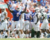 Florida redshirt junior defensive tackle Jaye Howard celebrates after Duke Lemmens recovered a fumble during the second half of the Gators' 38-14 win against the South Florida Bulls on Saturday, September 11, 2010 at Ben Hill Griffin Stadium in Gainesville, Fla. / Gator Country photo by Tim Casey