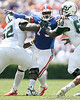 Florida freshman defensive tackle Sharrif Floyd pressures the quarterback during the first half of the Gators' game against the South Florida Bulls on Saturday, September 11, 2010 at Ben Hill Griffin Stadium in Gainesville, Fla. / Gator Country photo by Tim Casey