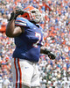 Florida redshirt senior guard Maurice Hurt celebrates after a touchdown during the second half of the Gators' 38-14 win against the South Florida Bulls on Saturday, September 11, 2010 at Ben Hill Griffin Stadium in Gainesville, Fla. / Gator Country photo by Tim Casey