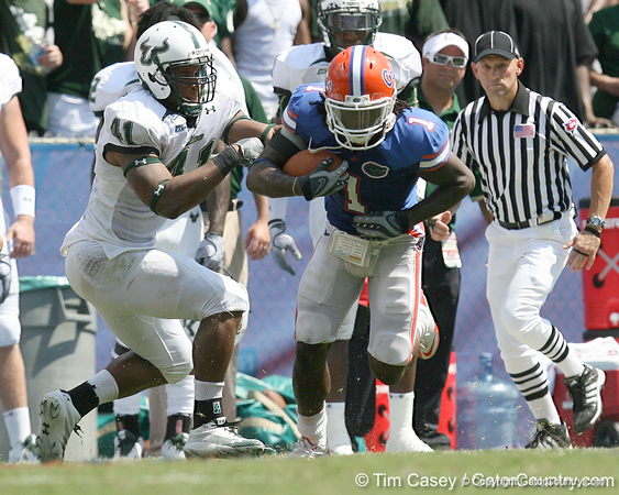Florida junior cornerback Janoris Jenkins returns a punt during the second half of the Gators' 38-14 win against the South Florida Bulls on Saturday, September 11, 2010 at Ben Hill Griffin Stadium in Gainesville, Fla. / Gator Country photo by Tim Casey