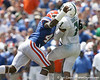 Florida senior linebacker Brandon Hicks hits B.J. Daniels during the first half of the Gators' game against the South Florida Bulls on Saturday, September 11, 2010 at Ben Hill Griffin Stadium in Gainesville, Fla. / Gator Country photo by Tim Casey
