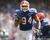 Florida senior defensive end Justin Trattou returns an interception for a touchdown during the second half of the Gators' 38-14 win against the South Florida Bulls on Saturday, September 11, 2010 at Ben Hill Griffin Stadium in Gainesville, Fla. / Gator Country photo by Tim Casey